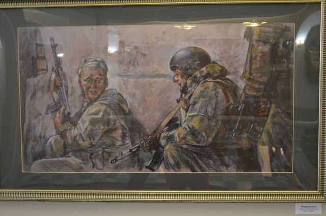 Много лет художник создает картины про защитников Отечества.