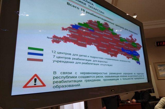 Красным выделены районы, где учреждений для реабилитации нет.