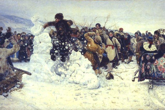 Картина «Взятие снежного городка» была написана Суриковым в 1891 году.