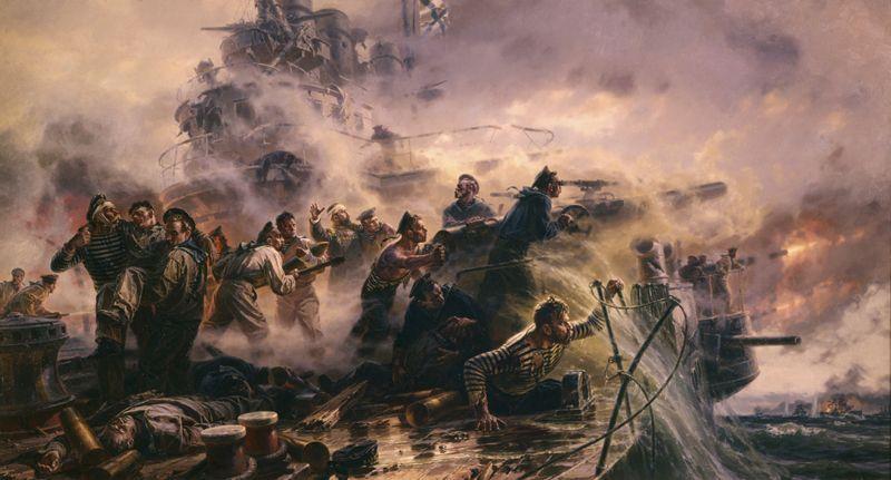 Бой крейсера «Варяг» кисти Петра Мальцева.