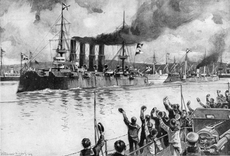 Русский крейсер «Варяг» выходит из гавани для сражения с японским флотом. Русских моряков провожают экипажи нейтральных держав.