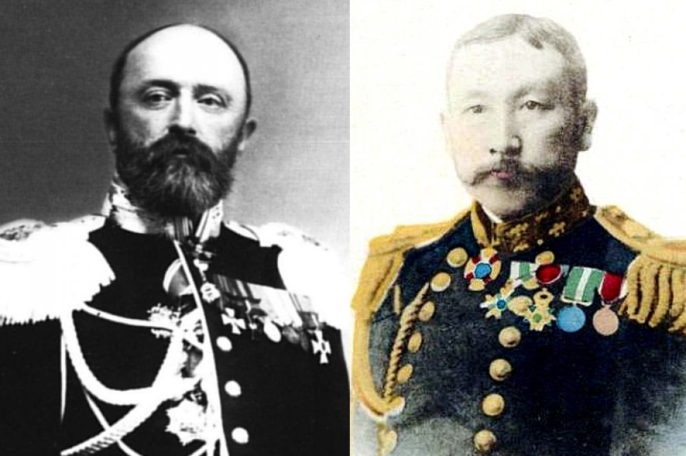Командир «Варяга» капитан 1-го ранга Всеволод Руднев и командующий японской эскадрой контр-адмирал Сотокити Уриу.