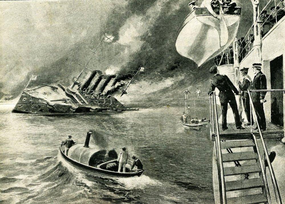 Затопление крейсера «Варяг». Французский крейсер «Паскаль» спускает шлюпки, чтобы забрать его экипаж.