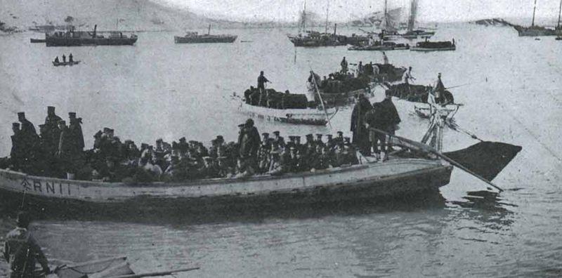 Высадка японских войск в Чемульпо. Январь 1904 года.
