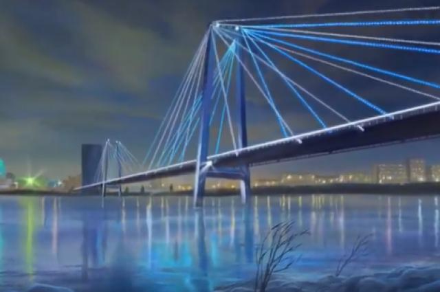 Художник прорисовывает каждую деталь картины: темное вечернее небо с облаками, синюю воду Енисея, в которой как в зеркале отражается подсветка моста
