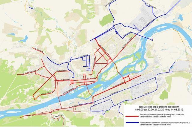 Движение грузового автотранспорта ограничат во всех районах Красноярска.