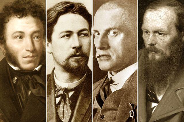 Александр Пушкин, Антон Чехов, Владимир Маяковский, Федор Достоевский.