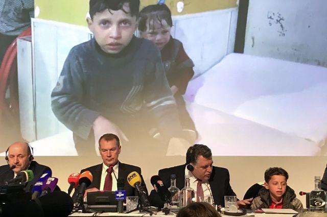 Брифинг представителей РФ и свидетелей «химатаки» в Сирии в Организации по запрещению химического оружия (ОЗХО) в Гааге. Апрель 2018 г.