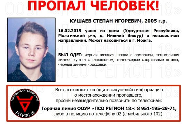 13-летний Степан Кушаев ушёл из дома в деревне Нижний Вишур в Можгинском районе 16 февраля.