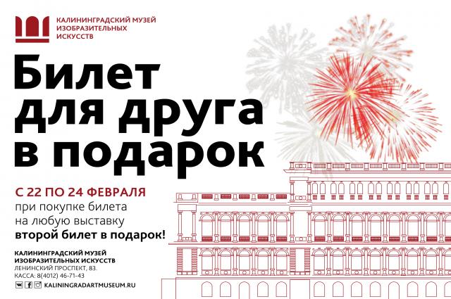 Музей изобразительных искусств в честь 23 февраля дарит второй билет