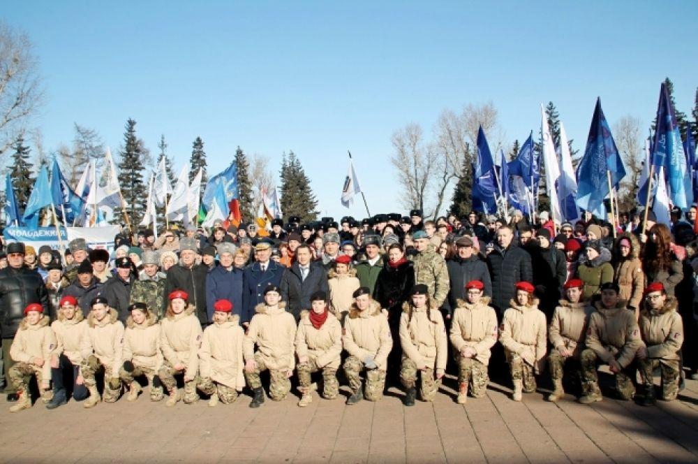 Праздничный митинг, посвященный Дню защитника Отечества, состоялся в Иркутске у мемориала «Вечный огонь Славы».