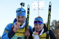 Евгения Павлова и Дмитрий Малышко получили золотую медаль в одиночной смешанной эстафете на чемпионате Европы в Раубичах.