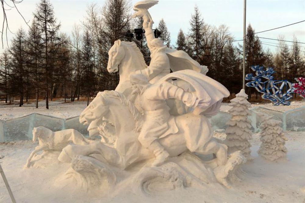 В номинации «Снег» победу одержала команда из Перми «Гвозди» со своей работой «Царская охота».