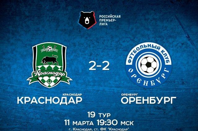 «Оренбург» в гостях вничью сыграл с «Краснодаром»