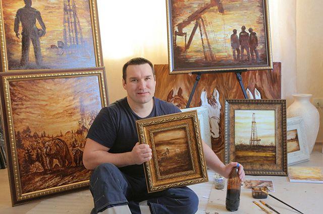 Сюжеты картин автор черпает в работе на буровой.