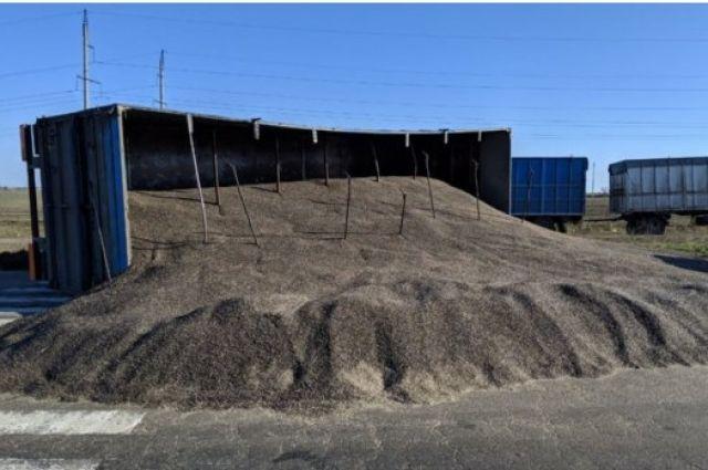 Авария случилась в среду, 13 марта, на трассе Одесса-Мелитополь. На дорогу высыпались тонны семечек из прицепа.