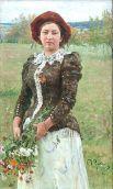 «Осенний букет» (1892). Героиней картины является старшая дочь Репиных — Вера Ильинична. Художник писал портрет с натуры. По его словам, букет в руках повзрослевшей барышни подчеркивал ее «чувство жизни, юности, неги».