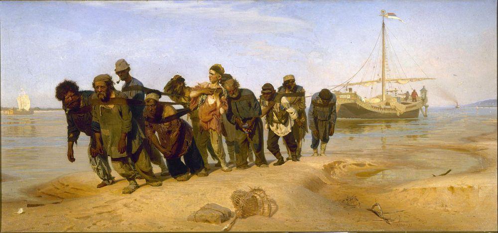 «Бурлаки на Волге» (1870-1873). В 1868 году во время поездки на Неву на этюды Репин увидел бурлаков за работой. Контраст между праздной, беззаботной публикой на берегу, и людьми, тянущими на лямках плоты, настолько впечатлил его, что он начал создавать эскизы на эту тему.