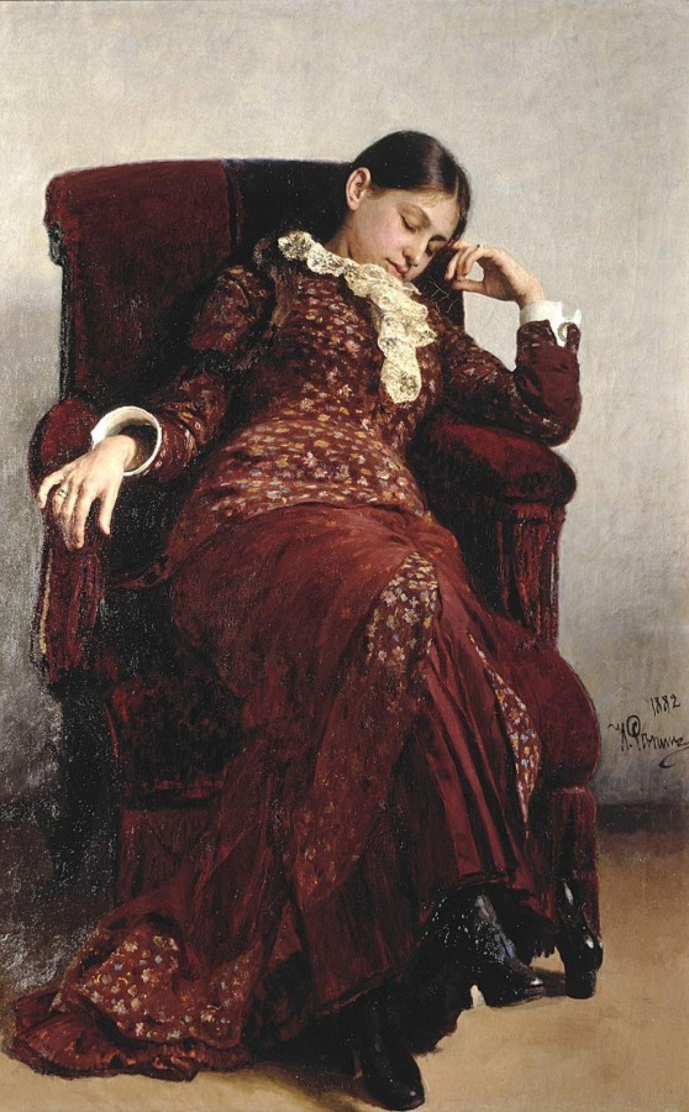 Репин писал много портретов своих близких. Так, Илья Ефимович создал несколько портретов Веры Алексеевны, в том числе картину «Отдых» (1882).