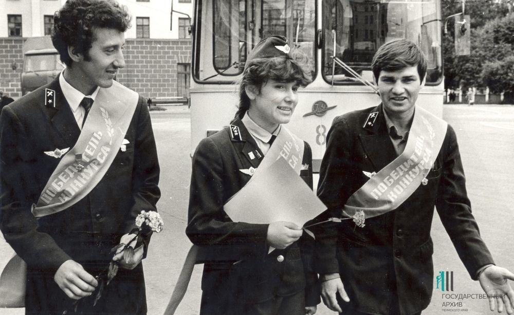 Участники конкурса профмастерства водителей троллейбусов, 1987 год.