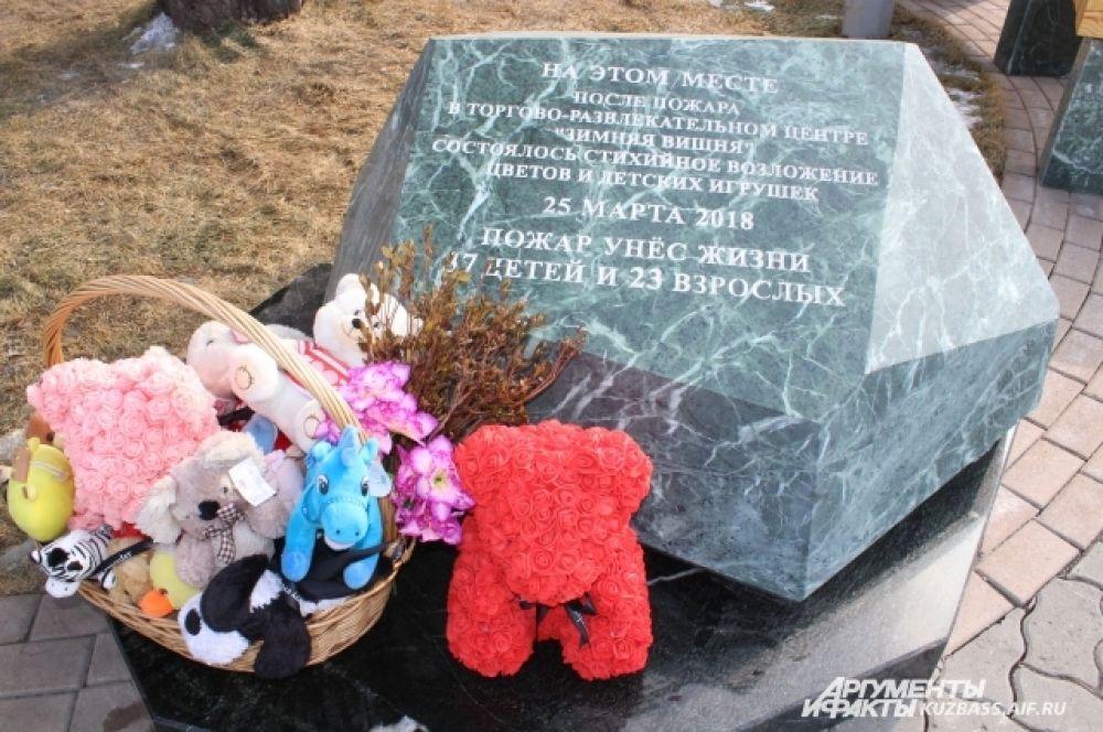 За неделю до годовщины у памятного камня снова корзина с игрушками.