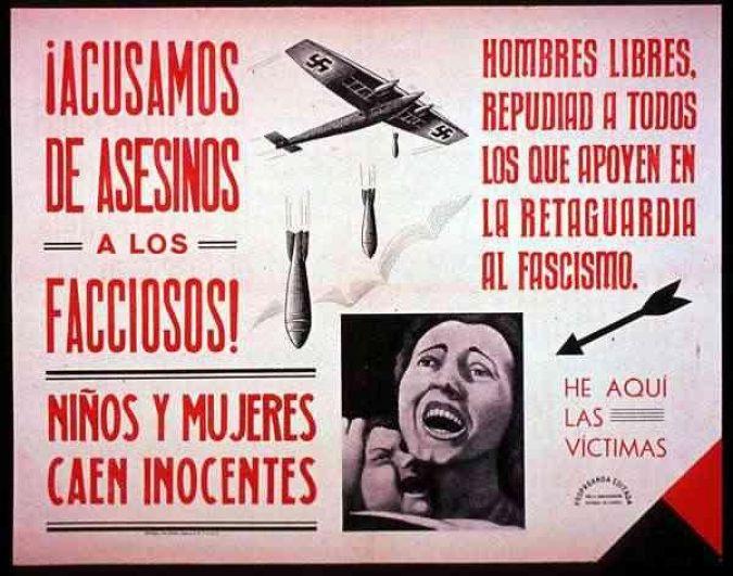 Вина на смертоносных заговорщиках! Дети и женщины безвинно гибнут! Свободным людям противны все признающие фашистов. Жертвы перед вами. «Обвиняем убийц детей и женщин!» Республиканский плакат 1937 года, выпущенный после бомбардировки Герники.