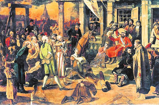 «Суд Пугачёва». Картина Василия Перова, 1875 г.