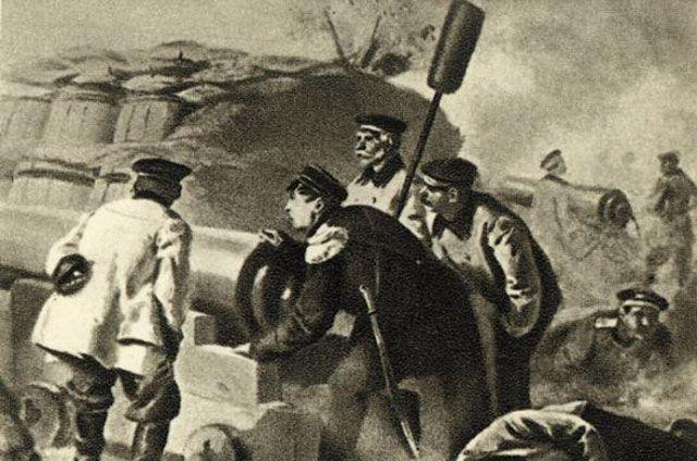 Адмирал Нахимов на севастопольском бастионе.