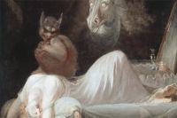 Накартине английского художника Генри Фюзели «Ночной кошмар» нагруди спящей женщины сидит инкуб— воплощение кошмаров ибессознательных страхов.