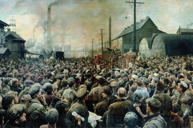 Выступление В. И. Ленина на митинге рабочих Путиловского завода в мае 1917 года. И. И. Бродский, 1929