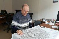 На карте Владимира Толстова угадываются очертания старой части современной Калуги.