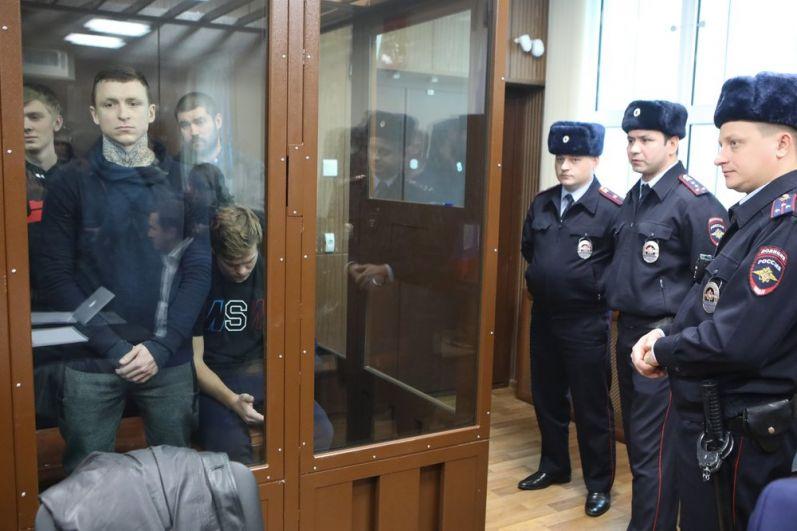 Павел Мамаев во время рассмотрения ходатайства следствия о продлении ареста, декабрь 2018.