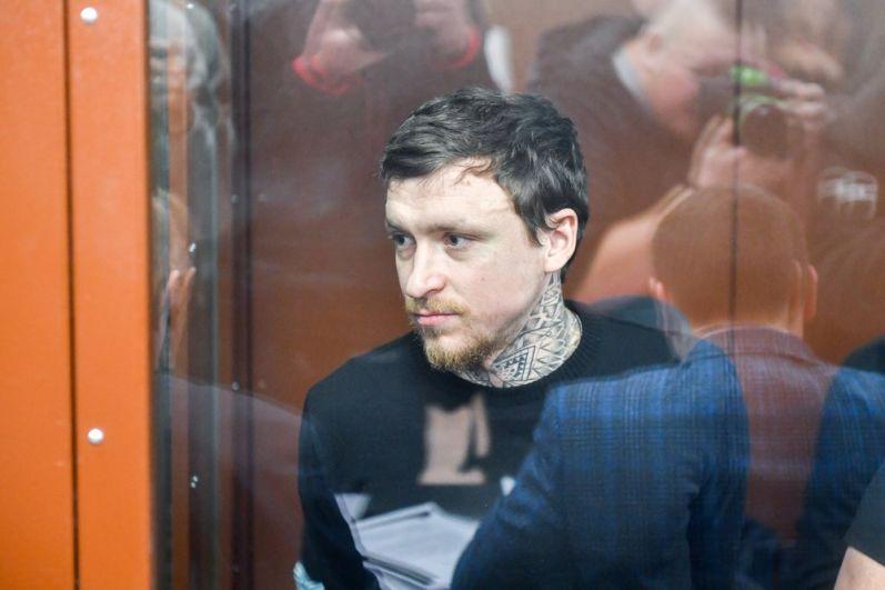 Павел Мамаев на рассмотрении ходатайства следствия о продлении ареста в Тверском суде, декабрь 2018.