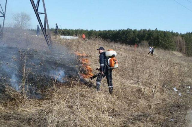 Спасатели ликвидировали природный пожар с помощью механизированных ранцев STIHL SR 430.