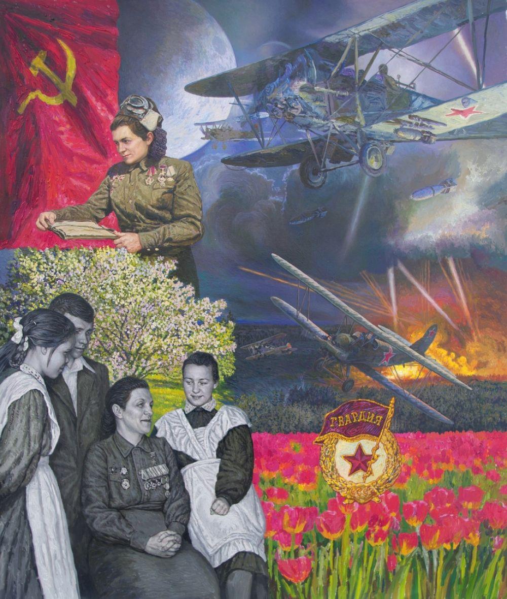 Герой Советского Союза Магуба Сыртланова (1912—1971) — гвардии старший лейтенант, заместитель командира эскадрильи 46-го гвардейского Таманского женского авиационного полка ночных бомбардировщиков. Холст, масло. 80 см х 70 см.