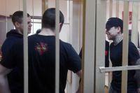 Обвиняемые в хулиганстве и побоях Александр Кокорин, Александр Протасовицкий, Кирилл Кокорин и Павел Мамаев на заседании Пресненского суда города Москвы.
