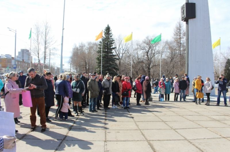 На протестную акцию пришли десятки человек.