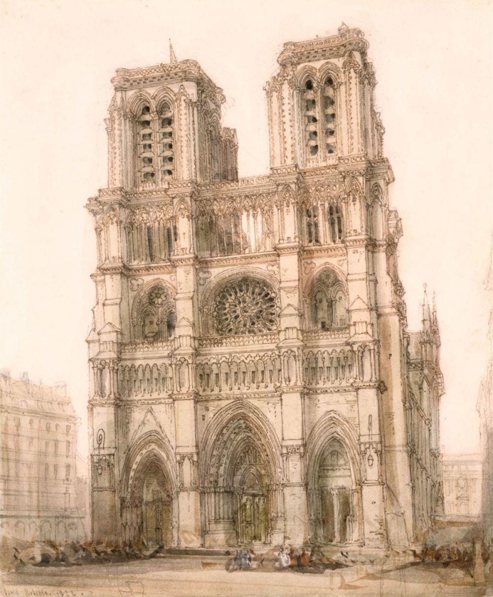 Главный фасад собора на рисунке шотландца Д. Робертса 1828 года.