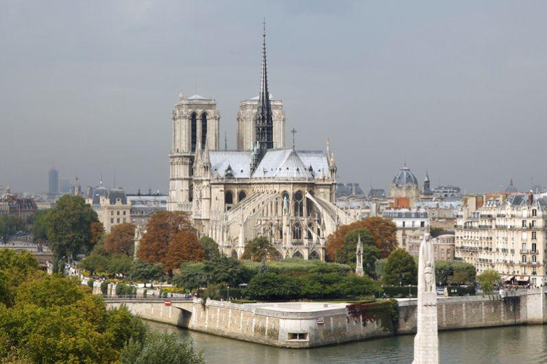 Вид на собор Парижской Богоматери с берегов Сены до пожара.