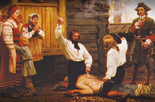 «Битьё розгами», картина неизвестного художника.
