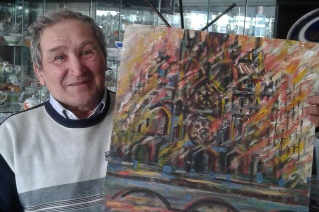 Валерий Хазимов увидел пожар в соборе Нотр-Дам и сразу же начал писать картину на эту тему.