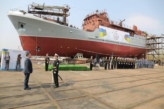 ВМС Украины получил первый украинский средний разведывательный корабль