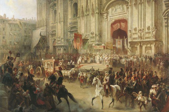 Торжественная встреча Суворова в Милане в апреле 1799 года. Художник А.Шарлемань.
