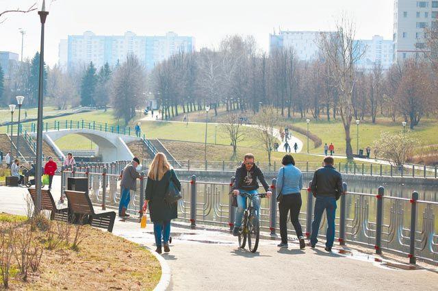 Стоит спуститься сМичуринского проспекта кОлимпийским прудам–  ине слышно машин, нет ветра, кругом тишина.