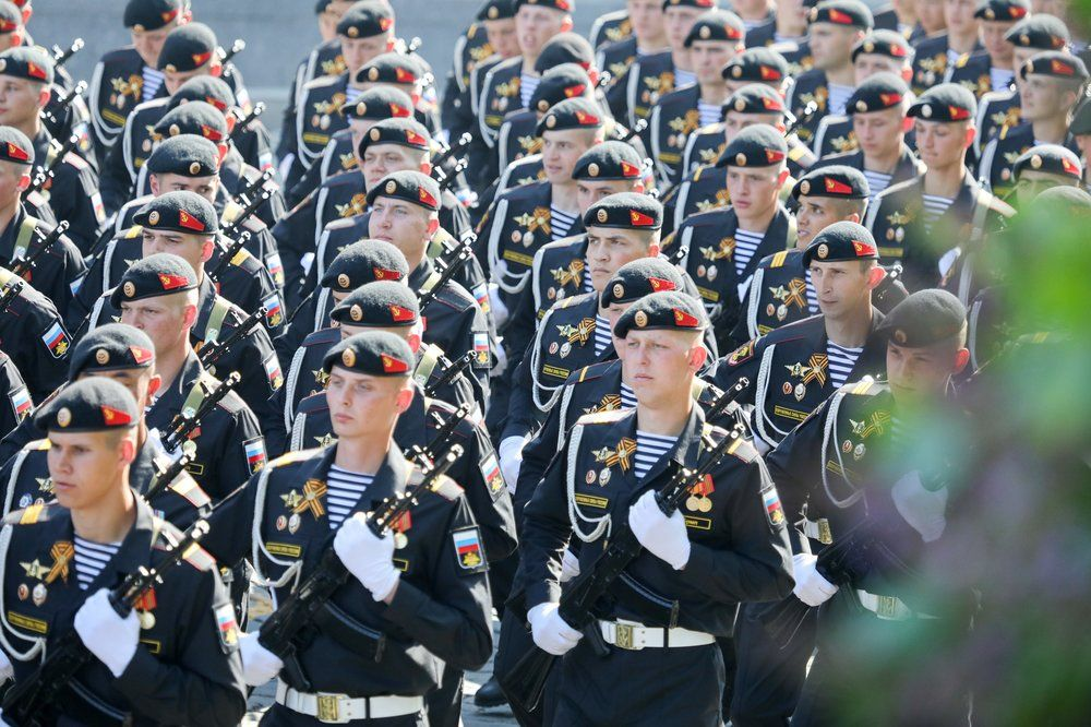 Военнослужащие парадных расчетов на генеральной репетиции военного парада на Красной площади, посвящённого 74-й годовщине Победы в Великой Отечественной войне.
