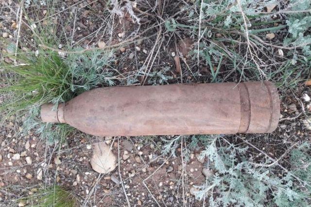 В пригороде Оренбурга найден артиллерийский снаряд