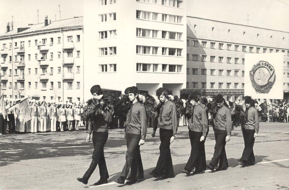 Парад юнармейцев и орлят в честь Дня Победы.