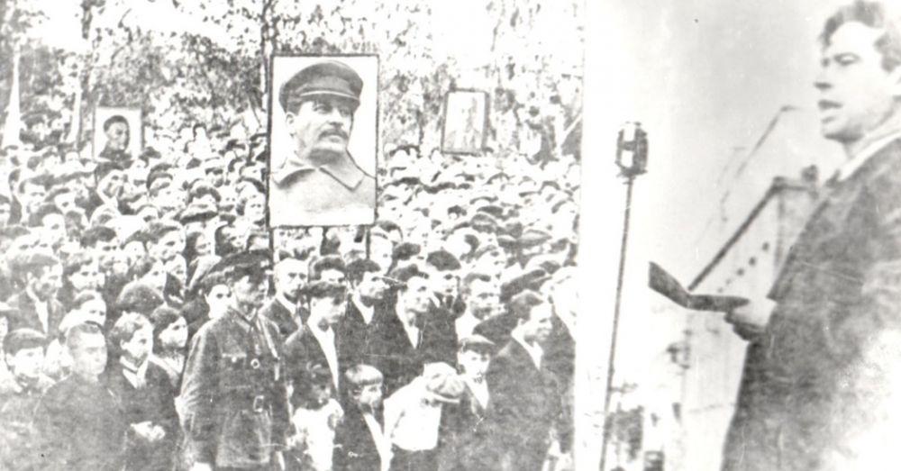 Участники митинга в Сыктывкаре в первый день войны 22 июня 1945 г.