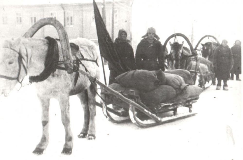 Красный обоз с хлебом в фонд обороны от колхоза имени Оплеснина Тентюковского сельсовета, декабрь 1943 г.