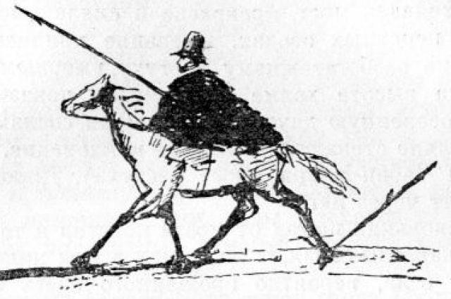 «Путешествие в Арзрум». Пушкин на коне. Рисунок Пушкина. 1829.